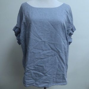 Helmut Lang blue chambray short sleeve top M